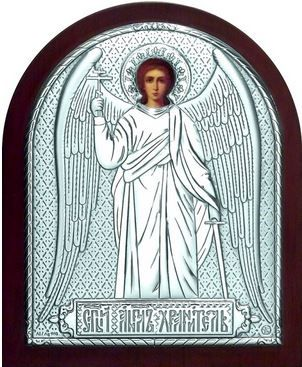 Серебряная икона Ангела Хранителя (9*11см., «Галерея благолепия», Россия) в дорожном футляре