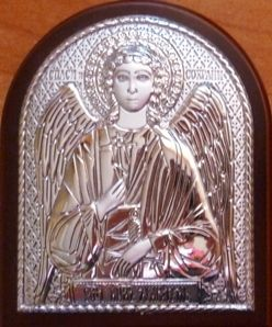 Серебряная икона Ангела Хранителя (7*8,5см., «Галерея благолепия», Россия) в дорожном футляре