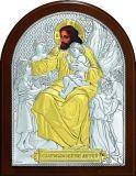 Икона «Благословение детей» (9*11) в серебре с золочением