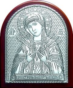 Серебряная икона Богородицы «Семистрельной» (7*8.5см., «Галерея благолепия», Россия) в дорожном футляре