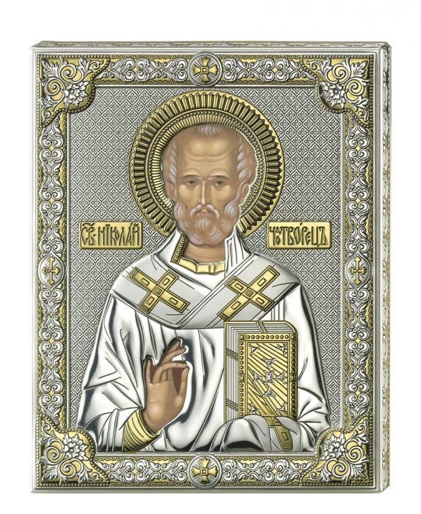 Серебряная икона Святой Николай (листовое серебро, прозрачный лак, Valenti & Co, Италия)
