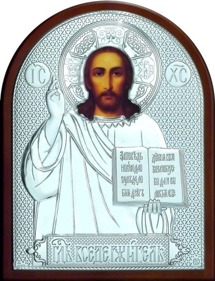 Серебряная икона Иисуса Христа Спасителя (19*25см., «Галерея благолепия», Россия) в дорожном футляре