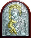 Икону Богородицы «Владимирской» (7*8.5) в серебре с золочением купить