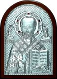 Икону святителя Николая Чудотворца (Угодника) (15*21) в серебре и инкрустацией драгоценными камнями купить