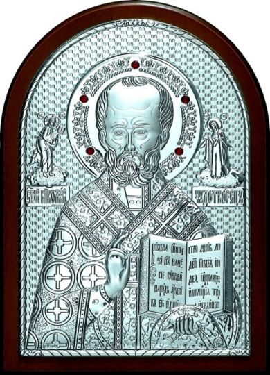 Инкрустированная гранатами серебряная икона святителя Николая Чудотворца (Угодника) (14,5*20см., «Галерея благолепия», Россия) в подарочной коробке