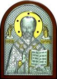 Икону святителя Николая Чудотворца (Угодника) (15*21) в серебре с золочением и инкрустацией драгоценными камнями купить