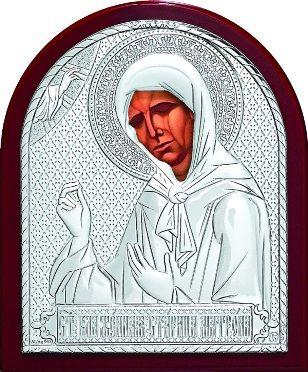 Серебряная икона Святой Блаженной Матроны Московской (9*11см., «Галерея благолепия», Россия) в дорожном футляре