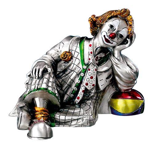 Серебряная коллекционная фигурка клоуна сидящего с мячом (Valenti & Co, Италия)