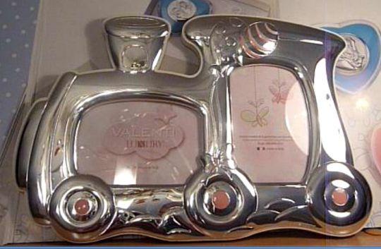 Детская серебряная фоторамка Паровозик, на 2 фото 6*9 см. (Valenti & Co, Италия)