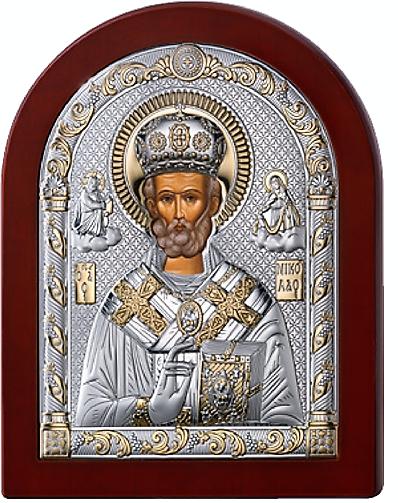 Серебряная икона  Николая Чудотворца (Valenti&Co, Италия, прозрачный лак, повышенное качество!)