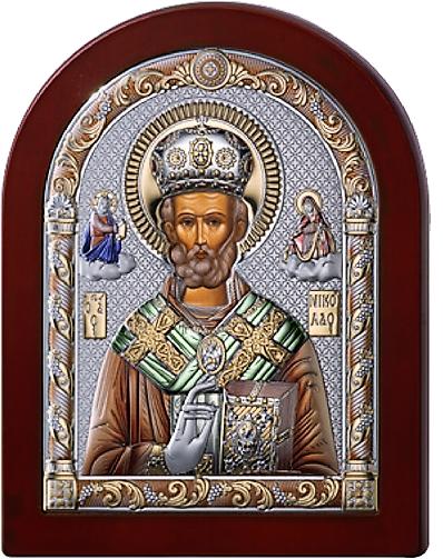 Серебряная икона  Николая Чудотворца (Valenti&Co, Италия, цветной лак, повышенное качество!)