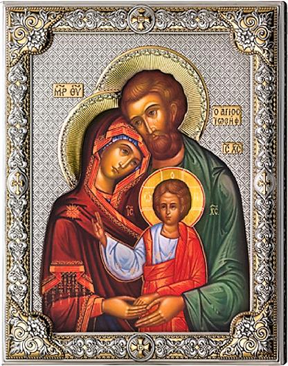 Серебряная икона Святое Семейство (листовое серебро, Valenti & Co, Италия, повышенное качество)