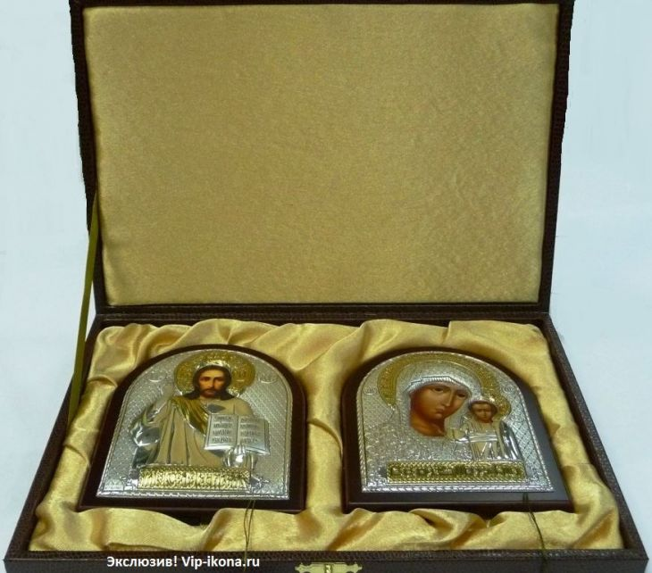 Подарочный набор (венчальная пара) Христа и Божьей Матери (12*16см., «Галерея благолепия», Россия) в VIP-упаковке в красном дереве