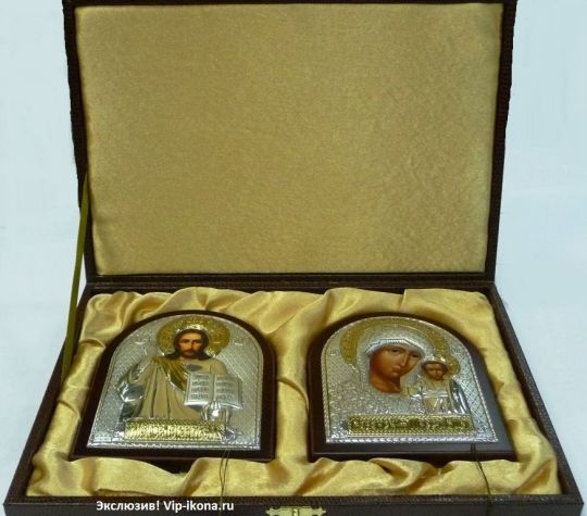 Подарочный набор (венчальная пара) Христа и Божьей Матери (12*16см., «Галерея благолепия», Россия) в VIP-упаковке в коричневом дереве