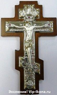 Серебряный с золочением крест-распятие (7*10см., «Галерея благолепия», Россия) с инкрустацией гранатами