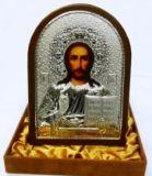 Инкрустированая драгоценными камнями серебряная икона Иисуса Христа Спасителя (14.5*20см., «Галерея благолепия», Россия) в подарочной коробке