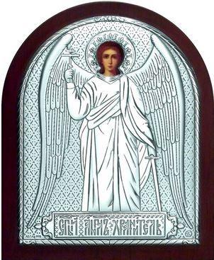 Серебряная икона Ангела Хранителя (9*11см., Россия) в дорожном футляре