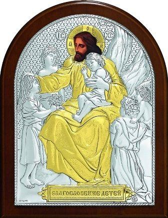 Серебряная с золочением икона «Благословение детей» (9*11см., Россия)