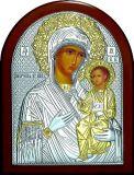 Целительная серебряная с золочением икона Богородица «Иверская» (9*11см.) в дорожном футляре галерея благолепия