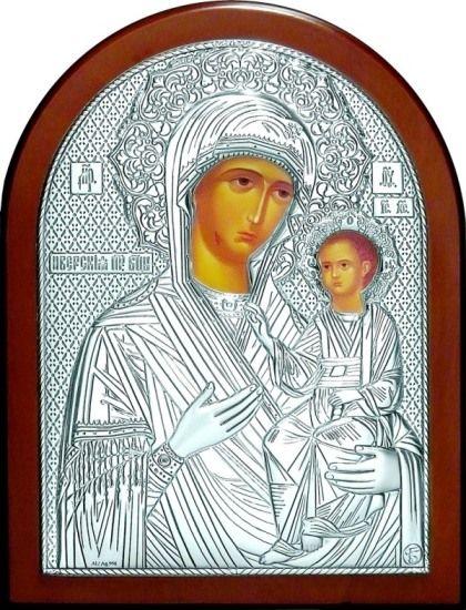 Целительная серебряная икона Богородица «Иверская» (12*16см., Россия) в дорожном футляре
