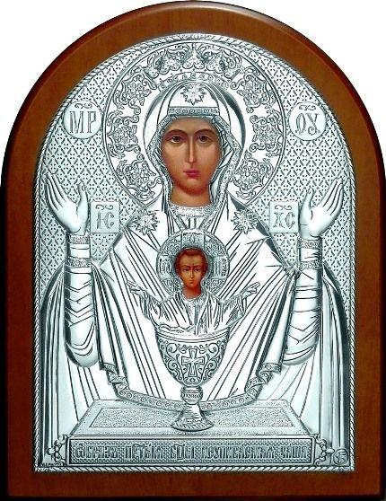 Серебряная икона Богородицы «Неупиваемая чаша» (12*16см., Россия) в дорожном футляре