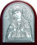 Серебряная икона Богородицы «Семистрельной» (7*8.5см.) в дорожном футляре галерея благолепия