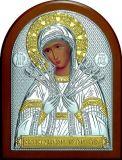 Икона Богородицы «Семистрельной» (12*16) в серебре с позолотой