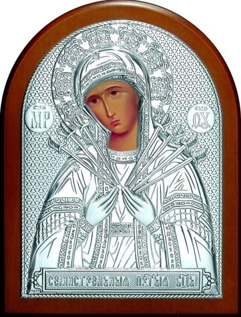 Серебряная икона Богородицы «Семистрельной» (12*16см., Россия) в дорожном футляре