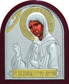 Серебряная с золочением икона Святой Блаженной Матроны Московской (9*11см., Россия)
