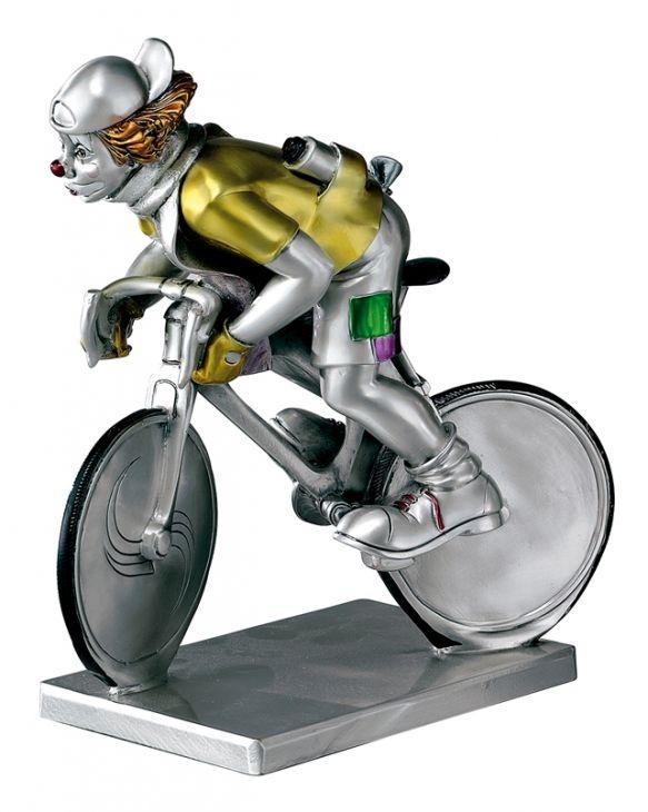 Серебряная коллекционная фигурка клоуна на велосипеде  (Италия)