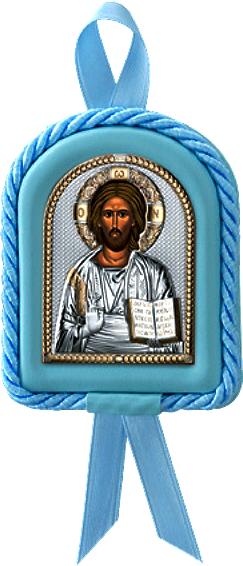 Икона Иисус Христос Спаситель в колыбельку новорожденному ребенку (Италия, повышенное качество!) купить в подарочной упаковке!