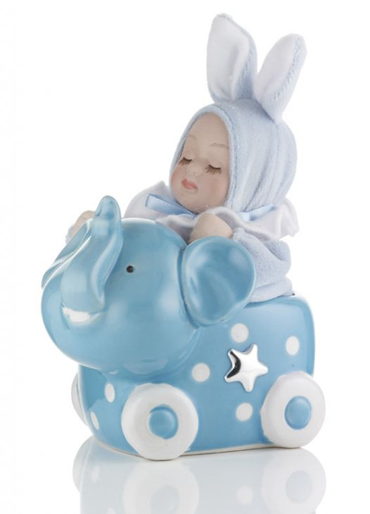 Музыкальный слоник (розовый, голубой) с малышом в подарок ребенку и будущей маме (Италия)