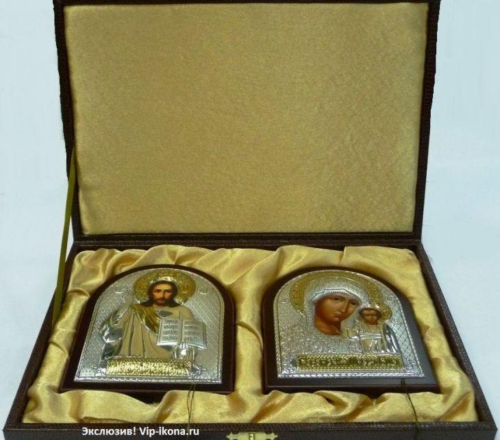 Подарочный набор (венчальная пара) Христа и Божьей Матери (12*16см., Россия) в VIP-упаковке в красном дереве