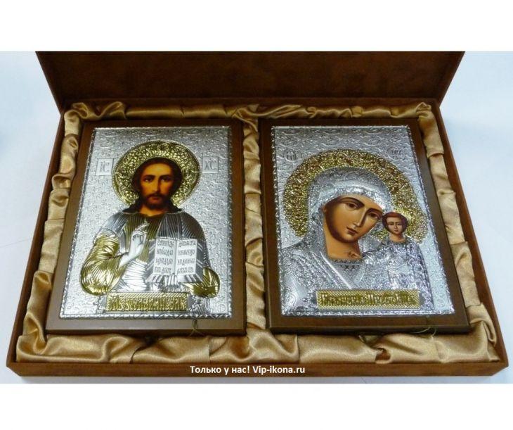 Подарочный набор (венчальная пара) Христа и Божьей Матери (15*21см., коричневое дерево, Россия) в VIP-упаковке